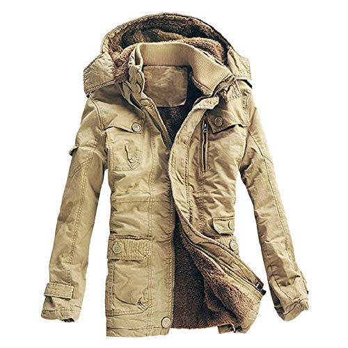 OPALLEY Herren Warme Winterjacke Parka Jacke mit Fell Wintermantel mit Pelzkapuze Parka Winter Kapuzenjacke Outdoorjacke Warm Mantel