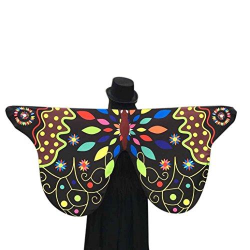 Schmetterling Kostüm Dasongff Schmetterlingsflügel Schal 145×65CM Frauen Soft Schmetterlings Flügel Schal feenhafte Damen Nymphe Pixie Kostüm Zusatz Halloween Cosplay Kostüm (145 * 65CM, Schwarz)
