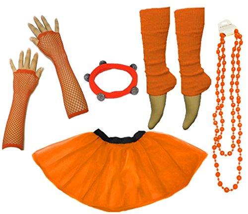A-Express Frauen kostüm 80er Jahre Neon Tutu Beinstulpen Fischnetz Handschuhe Tüllrock Karneval Tüll Damen Fluo Ballett Verkleidung Party Tutu Rock Kostüm Set (46-54, Orange)