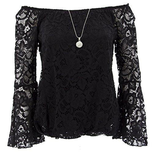 Netgozio Shirt Frau mit Halskette T-Shirt-Ausschnitt Carmen Gitana Sexy Lace Ärmel 3/4 Schwarz