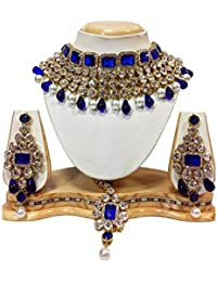 Shining Diva Blue Crystal Choker Traditional Necklace Jewellery Set with Earring for Women(rrsd6817s)
