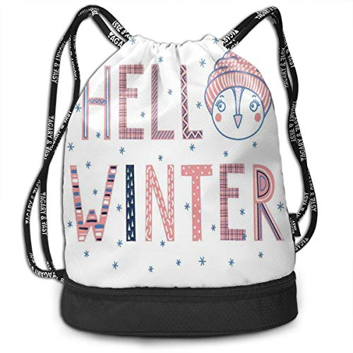 Hmihilu Drawstring Backpacks Daypack Bags,Hello Winter Typographic Text with Funny Face In A Hat Surrounded by Snowflakes,Adjustable String Closure -