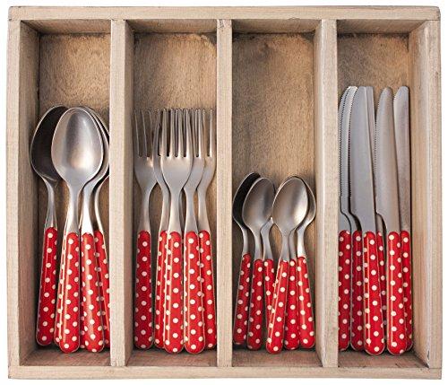 Provence Pois dîner Ensemble de Couverts en Acier Inoxydable, bac, Rouge, 33.5 x 29.5 x 6.5 cm