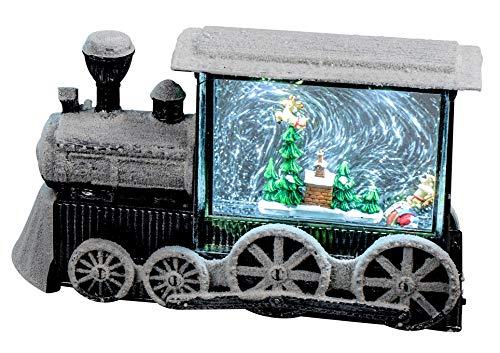 dekojohnson LED Spieluhr für Weihnachten - Dekozug in Metall-Optik mit Schneemann, Teddybär Figuren und Wassereffekt - Deko-Eisenbahn mit Licht beleuchtet - 16x28cm