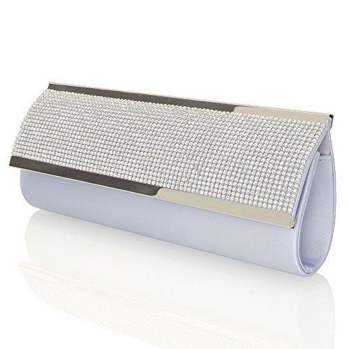 Essex Glam Abentasche Clutch Fukelnden Strassstein Kristall Diamante Tasche Silber Satin (Satin Snap-verschluss-kette)