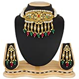 #2: The Luxor Gold Plated Pearls & Kundan Haram Mala Choker Necklace Set with Earrings for Women & Girls