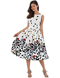 524e4ff57773e DressLily Sleeveless Butterfly Print Tie A-line Women Dress