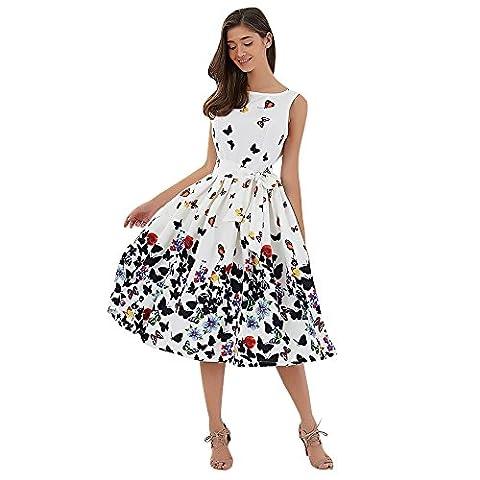 DressLily Sleeveless Schmetterlings-Druck-Bindung A-line Frauen Kleid, Wei?,