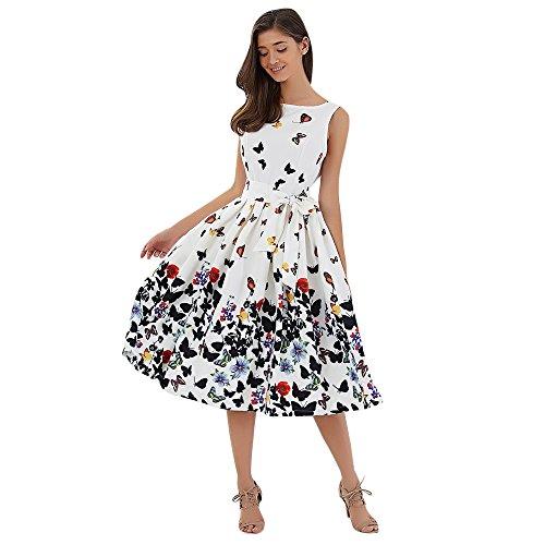 DressLily Sleeveless Schmetterlings-Druck-Bindung A-line Frauen Kleid, Wei?, L