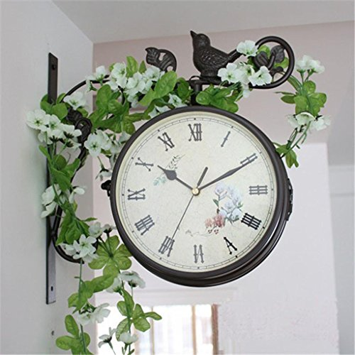 Sided Wall Double Clock (Zweiseitige Uhr Schmiedeeisen Kunst Uhr Garten Wanduhr , C)