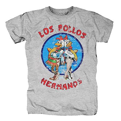 TSP Los Pollos Hermanos T-Shirt Herren M Grau meliert (Fußball Fan Halloween Kostüme)