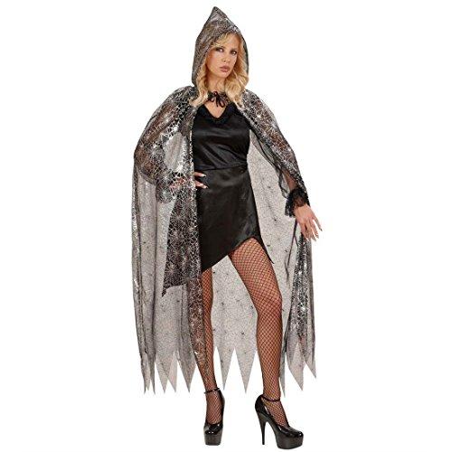 Spinnen Umhang Hexen Cape 136 cm Spinnennetz Kapuzenumhang Gothic Gewand Mantel mit Kapuze Schwarze Witwe Verkleidung Halloween Kostüm (Schwarze Halloween Kostüme Witwe)