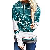 KIMODO Pullover Damen, Herbst Lang Punkte Elch Schneeflocke Druck Kapuzenpullover Kapuzenjacke Hoodie Bluse Weihnachten (Himmelblau, XL)