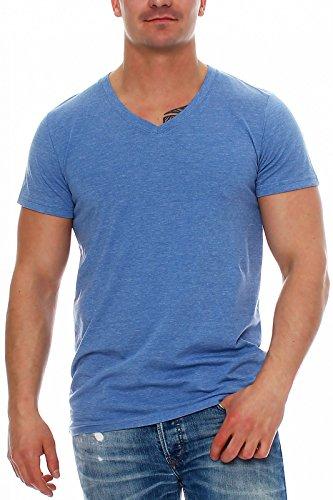 Happy Clothing Herren T-Shirt V-Ausschnitt Meliert Comfort Bügelfrei , Größe:L, Farbe:Blau