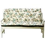 4L Textil Gartenbankauflage Bankauflage Bankkissen Sitzkissen Polsterauflage Sitzpolster (180x60x50, Blaue Blumen)