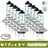 Luminizer® Ampoules de Phare Avant Lampe H7 Lumière Lampes De Voiture Super Brillant PX26d 10 x H7 12 V 55 W Ampoules Halogènes avec marque de contrôle E1 PX26D