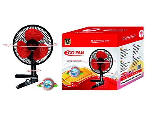 clip-on-23cm-9-oscillating-23w-black-portable-2-speed-adjustable-180-rotating-tilt-electric-air-cool