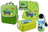 Mein Zwergenland Set 6 Kindergartenrucksack mit Brotdose, Turnbeutel aus Baumwolle, Trinkflasche und Brustbeutel Happy Knirps Next mit Name Traktor, 5-teilig, Grün