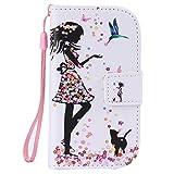 ISAKEN Galaxy S3 Mini Hülle, PU Leder Geldbörse Wallet Case Ledertasche Handyhülle Tasche Case Schutzhülle mit Handschlaufe Standfunktion für Samsung Galaxy S3 Mini - Mädchen Katze