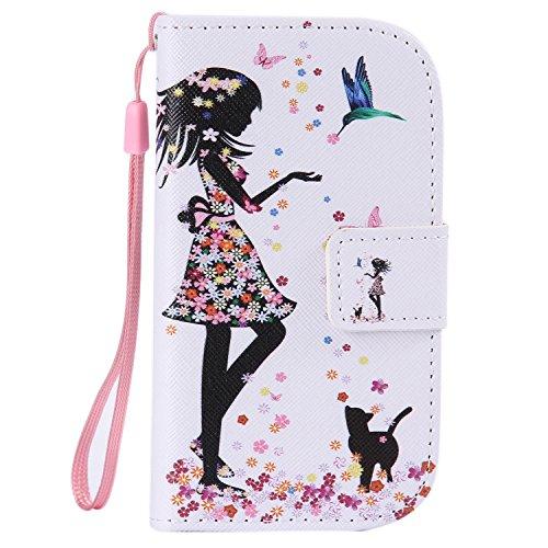 ISAKEN Compatibile con Samsung Galaxy S3 Mini Custodia Cover, Pelle PU Custodia Flip Portafoglio Cover con Strap/Supporto di Stand/Carte Slot/Chiusura Magnetica - Ragazza Fiori