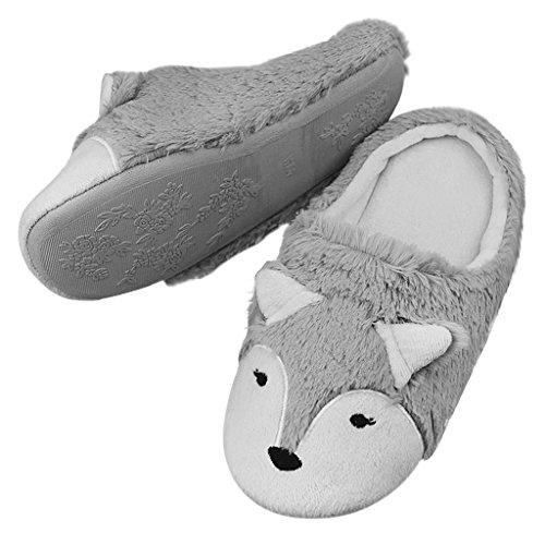 Pantofole Da Donna Di Volpe, Pantofole Di Cotone Dolce Inverno Peluche Morbide Pantofole Di Peluche Casa Morbide Per Le Ragazze Grigio Grigio