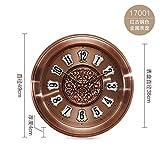 OLILEIO Horloge Ronde en métal Unique européenne Chambre à Coucher Salle de séjour Salle de réunion Watch Watch Mute,19 Pouces,Bronze Rouge...