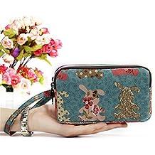 OURBAG Monedero de tela con cremallera de 3 capas Billetera de estampado floral de mujer linda