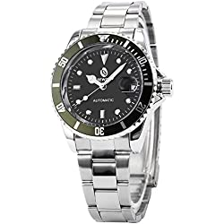 AMPM24 Black Green Automatic Mechanical Date Screw Crown Men's Sport Wrist Watch + AMPM24 Gift Box PMW112