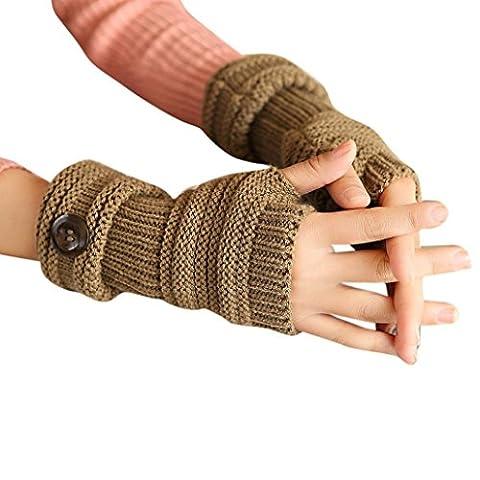 Saingace gloves Frauen Winter Handgelenk Arm Handwärmer gestrickte lange Fingerlose Handschuhe Fäustlinge (Khaki)
