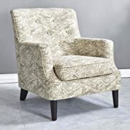 MOLLY Upholstered Armchair [Sand Color] Jacquard Living Room Accent Chair with Natural Wood Legs, Padded Arms,