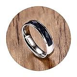 LOUMVE Herren Ringe Edelstahl Breit Cubic Zirconia Blau Sandstone 5MM Damen Wedding Ring mit Gravur Größe 62 (19.7)