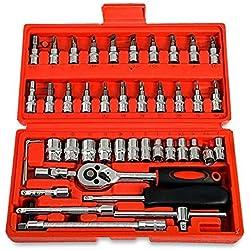 housesweet 46-teiliges 1/4-Zoll-Ratschenschlüssel-Set mit Steckschlüsseleinsätzen, Schraubendreher-Bits für Auto, Fahrrad, Motor-Reparaturwerkzeug