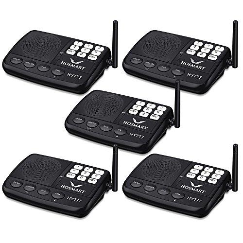 Wireless Intercom System Hosmart 1/2 Mile LONG RANGE 7-Kanal-Sicherheits-Funksprechanlage für Zuhause oder Büro(5 Stationen)