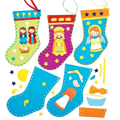 Nativity Stocking Sewing Kits for Children to Make Decorate and