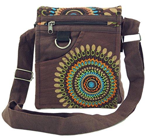 Guru-Shop Kleine Schultertasche, Hippie Tasche, Goa Tasche - Braun, Herren/Damen, Baumwolle, Size:One Size, 18x17x4 cm, Alternative Umhängetasche, Handtasche aus Stoff