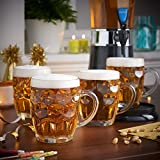 Frabjous Clear Glass Bubble Style Barware Beer Mug, Set Of 6, 350 Ml