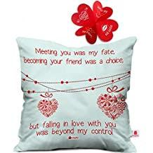 Indigifts Micro Satin Love Quote Hearts on A String Cushion Cover (16X16-inch, White)