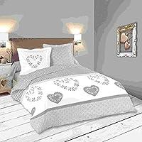 LOVELY CASA Manoir Housse de Couette 260 x 240 cm 2 Taies d'oreiller 63 x 63 cm, Coton, Gris