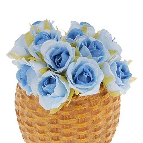 Magideal 60x artificial rosa per bouquet da sposa polso fiore corpetto matrimonio fai da te decorazione casa - blu, 10 centimetri