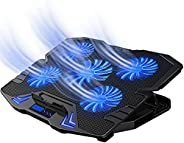 لوحة تبريد لابتوب 10 - 17 انش قابلة للتعديل مع منفذ USB مزدوج، مزودة بعدد 5 مراوح تبريد وشاشة مزودة بإضاءة LED