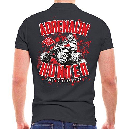 Männer und Herren POLO Shirt Adrenalin Hunter - Angst ist keine Option (mit Rückenduck) Größe S - 10XL Aschgrau