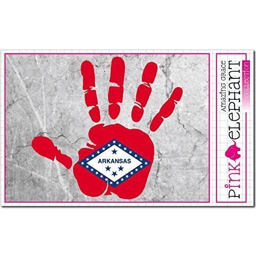 Palm Pine Tree (pinkelephant Aufkleber / Autoaufkleber - Arkansas - rechte Hand - Fahne - 10 cm x 9,5 cm - finger print palm slap handabdruck mano)