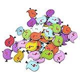 Hosaire 50x Bunten Vogels Hölzerne Holzknöpfe Knöpfe DIY Decals Kinder Handwerk Knopf Buttons Nähen und Basteln Zubehör Mischfarben 25mm