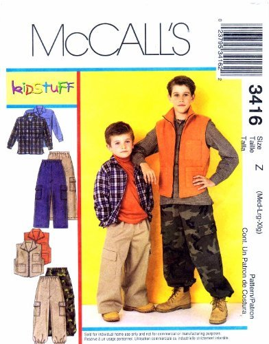 mccalls-sewing-pattern-3416-childrens-and-boys-shirt-vest-pants-sporting-outdoors-size-z-med-lg-xlg-