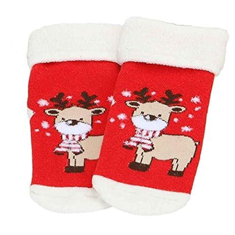 WINWINTOM® Baby-Weihnachten Socken Anti-Rutsch Kinder Socken Baumwolle Blend Soft Floor Socken (L)