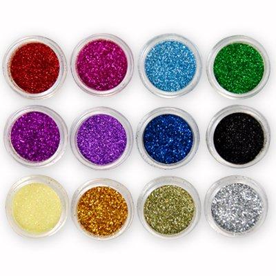 12 Farbe Nail Art Glitter Puder Glitzer Nail Design Set Nailart