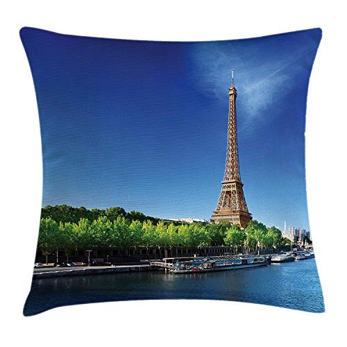 FAFANI Eiffel Tower Throw Pillow Cushion Cover, Seine Paris with Eiffel Tower Sunrise Trees River Nature Panorama, Decorative Square Accent Pillow Case, 18 X 18 Inches, Navy Blue Green Cream Navy Clara Slip