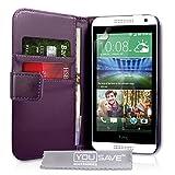 Yousave Accessories Coque HTC Desire 610 Etui Violet PU Cuir Portefeuille Housse
