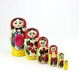 Heka Naturals Matryoshka muñecas Rusas de anidación Semenov Classic Babushka Hechas a Mano en Rusia 6 Piezas 13,5 cm muñecas de Regalo de Madera Rojas
