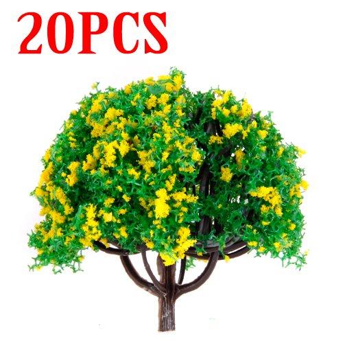 20pcs-28-inch-scenery-landscape-train-model-trees-w-yellow-flowers-scale-1-100
